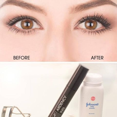 1st - put your first layer of mascara 2nd - add the baby powder onto your eyelashes  3rd - apply another layer of mascara or as many more layers you want and feel comfortable with .  4th - the more layers you add the longer they will be  5th - curl your lashes .