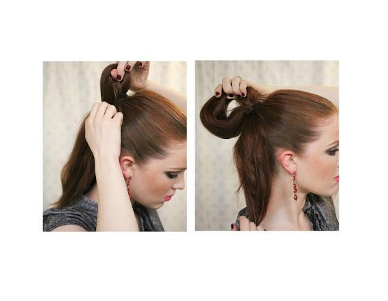 Next you're going to use another hair-tie on top of the other. Pull your hair through twice, but on the last time don't pull it through all the way, but stop after creating a loop that's about 6 inches across.