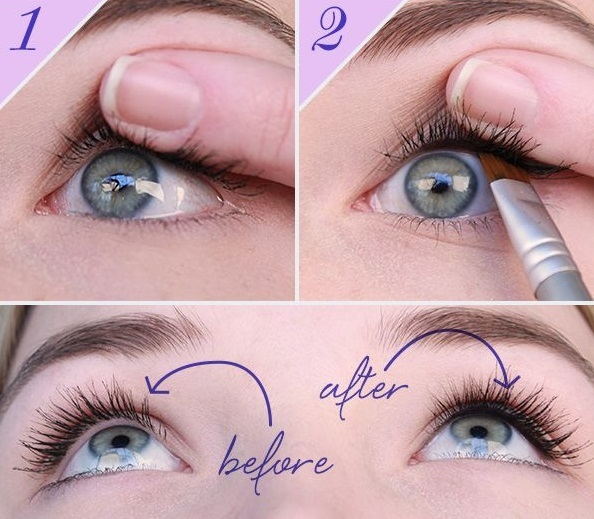 Put eyeliner on your tight and water line to make the look of thicker eyelashes...
