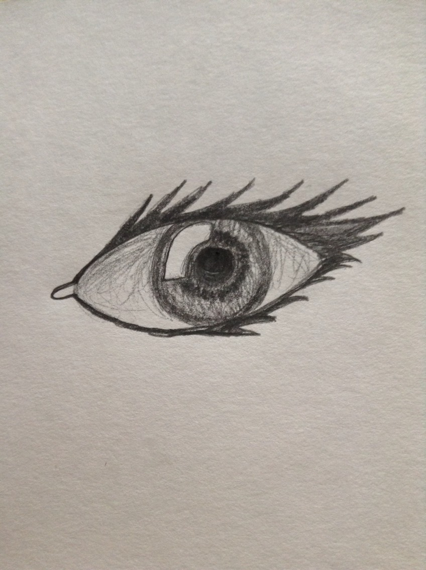Shade in and around the iris, it doesn't matter if you use colour I just decided to draw with a regular pencil