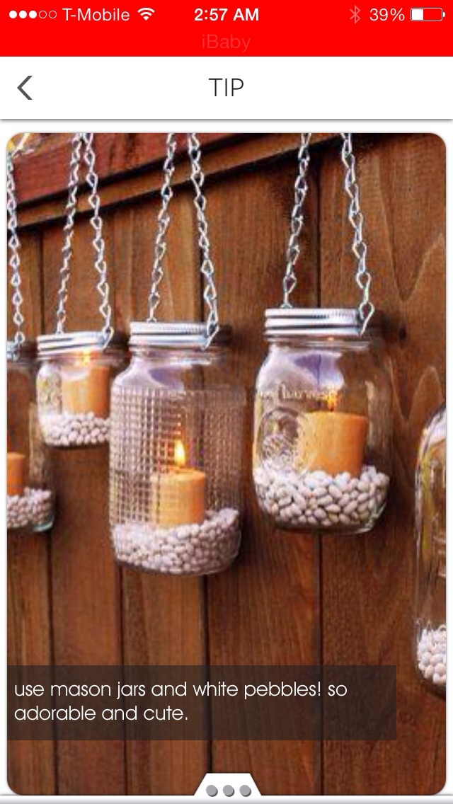 Take an empty jar poke holes inside the lid add candle and rocks or shells and attach chains there you have it