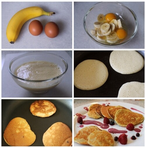 I like to use half a banana and one egg and you just mash it up and mix it then cook it like a pancake until done. A riper banana will make for a sweeter pancake. Enjoy!