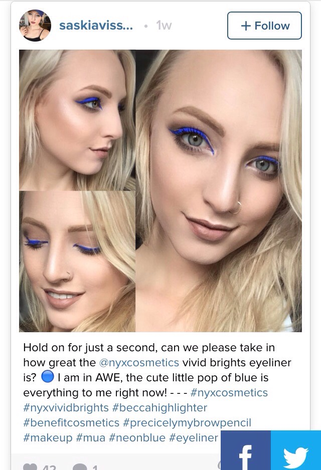 ELECTRIC EYELINER  Why not switch up your usual black eyeliner for something electric. You don't get better colourful eyeliners than NYX's Vivid Brights Liners.  Changing nothing about your usual look except adding one of these neon beauties will still make a statement!
