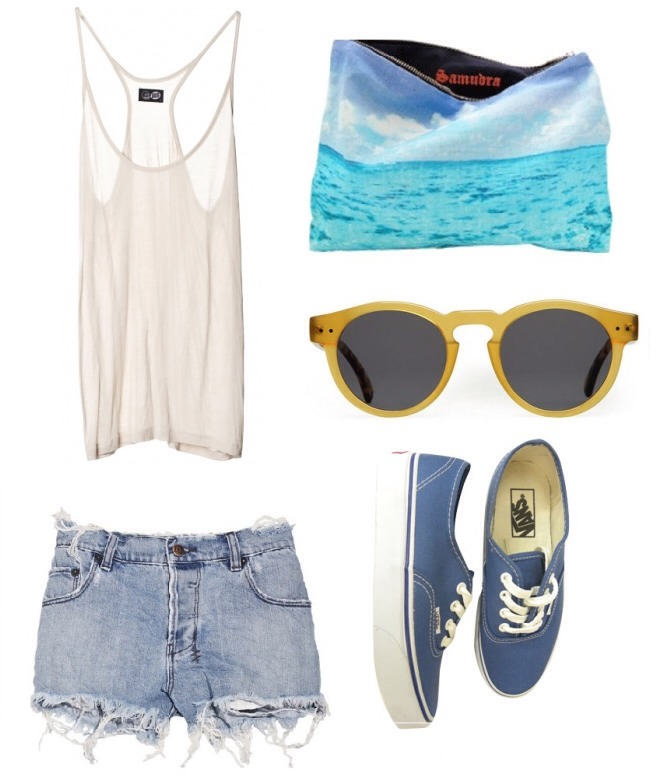 Demi shorts and a cute tank too with vans to match gives you a care free summer look with a cute bag.. SUMMER IS HERE