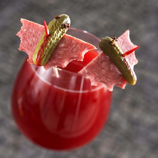 Batty Cranberry Apple Drink This Halloween drink will satisfy all of your senses with its spicy and fruity flavors. A mix of apple cider, cranberry, guava, and lime juices, as well as ginger, cinnamon, and allspice make this drink anything but boring -- especially when you add a batty garnish.