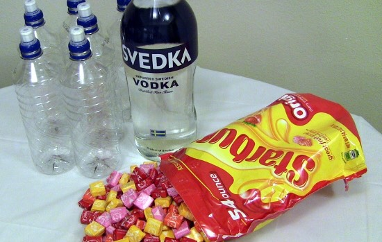 To make this fun alcoholic beverage you need 4 containers to hold the liquids, starbursts, and VODKA!  1. Separate the starbursts 2. Put 12 of each color (separated) in the containers.  4. Add vodka 3/4 the way up the container 5. Let sit 24 hours 6. Enjoy!