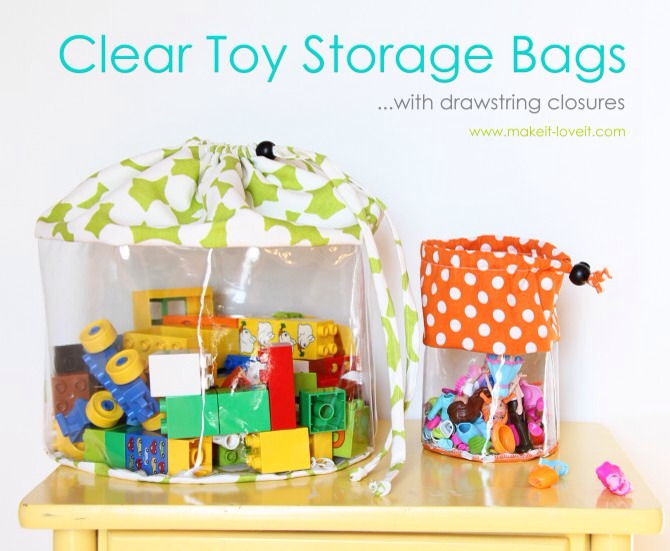 Similar to the storage bags above yet much larger and with a drawstring closure. Perfect for dolls and clothes, legos, or any other collection of toys your child has.