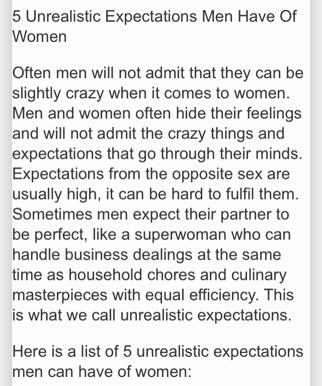 list of expectations for women