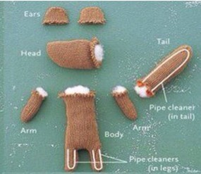 Fill with stuffing and pipe cleaners.
