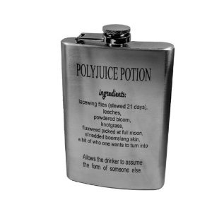 Polyjuice Potion Flask For witches and wizards who enjoy butter beer!  https://www.amazon.com/gp/aw/d/B00E6S5X7C/ref=pd_aw_sim_79_of_4?ie=UTF8&dpID=41tqPLcrXVL&dpSrc=sims&preST=_SL500_SR100%2C100_&refRID=Q1NS896J0J0KSSYAQ2VN