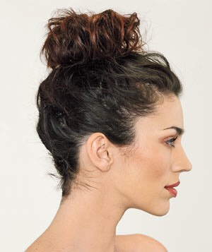 Step 2: Tie wet hair into messy bun. (DO NOT COMB THROUGH HAIR)