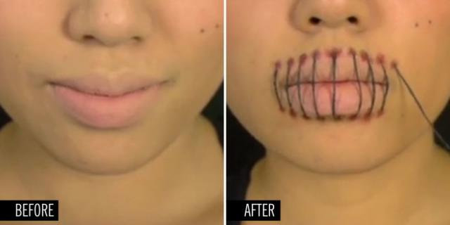 super creepy stitched mouth halloween makeup tutorial halloweentip - Halloween Makeup For Beginners