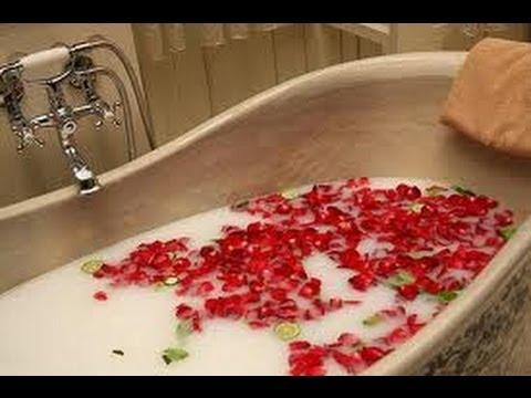 to keep her skin soft and luxurious she would bathe in rose water and milk.