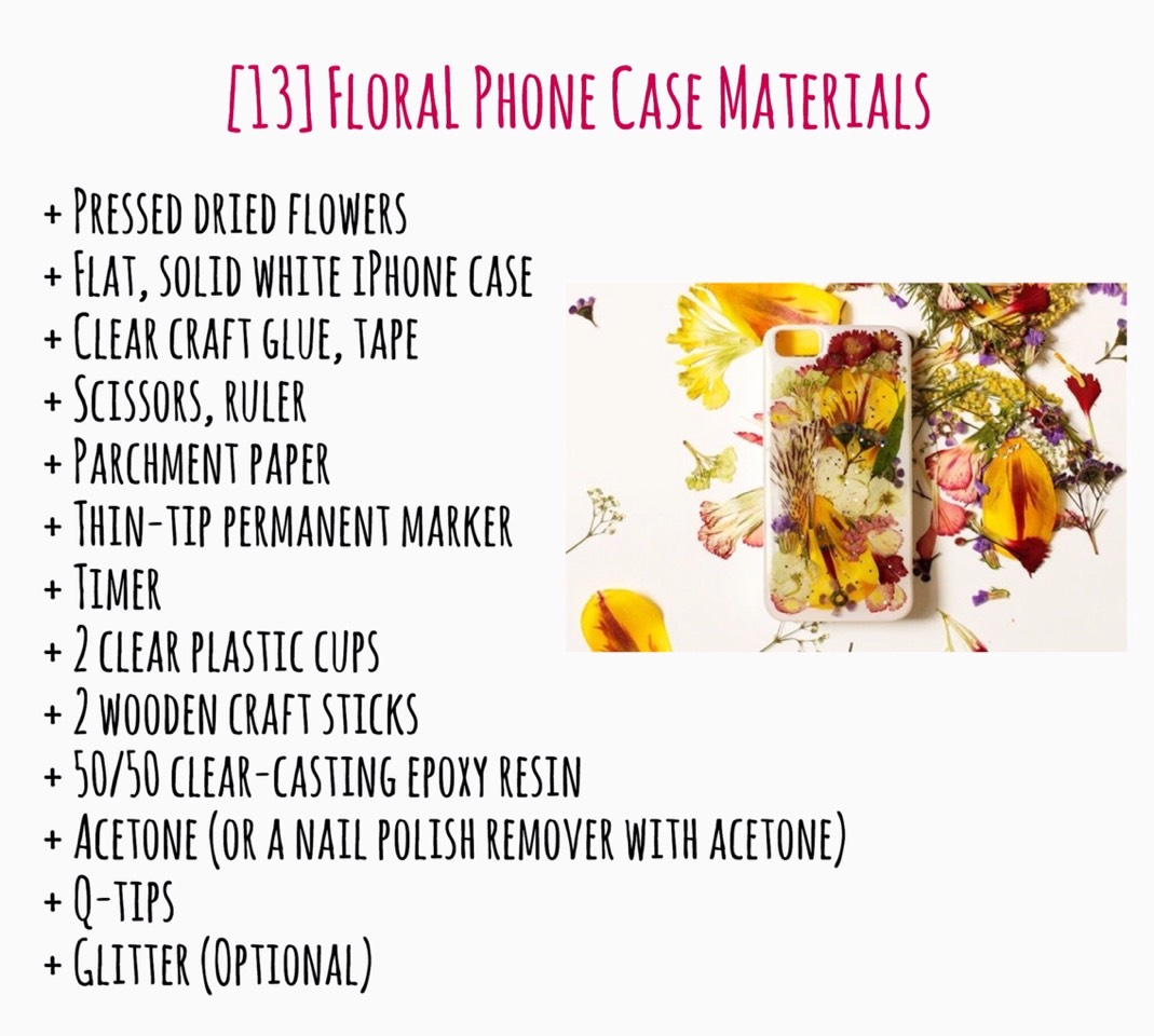 Here are the needed Materials. Check out the Step-by-Step picture tutorial for the FLORAL PHONE CASE on the Etsy blog, HERE | https://blog.etsy.com/en/diy-pressed-flower-iphone-case/?ref=finds_e