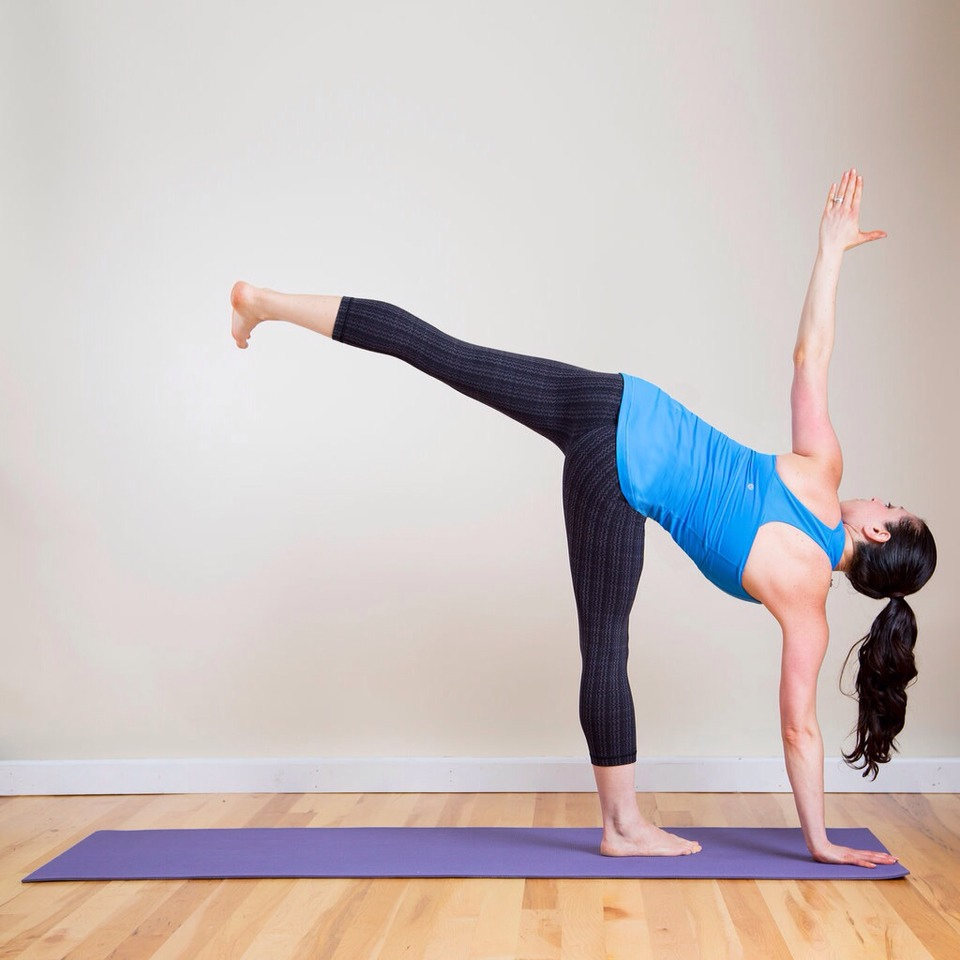 Half Moon From Reverse Warrior, inhale to lift your torso, and tip forward. Plant your right palm about a foot in front of your right toes. Straighten your right leg, and lift your left leg in the air. Distribute your weight evenly between your right hand and foot. Lift your left arm up.
