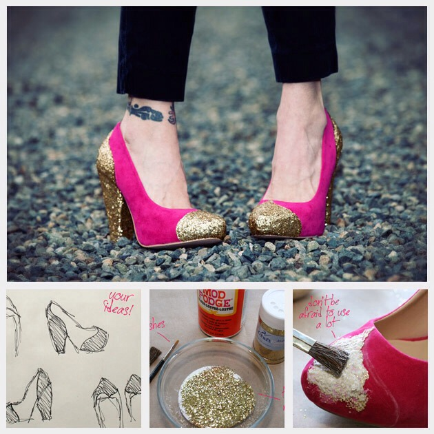 What youll need to make your DIY Glitter Shoes:  Suede pumps (in your color of choice – mine are from Forever 21) Mod Podge Glitter Bowl Brushes – 1 big, 1 small White chalk Flexible curve – optional it helps with marking your design