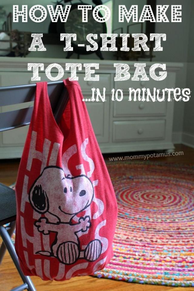 Transform an old t-shirt into a CUTE tote bag/ farmer's market bag in 10 easy minutes.
