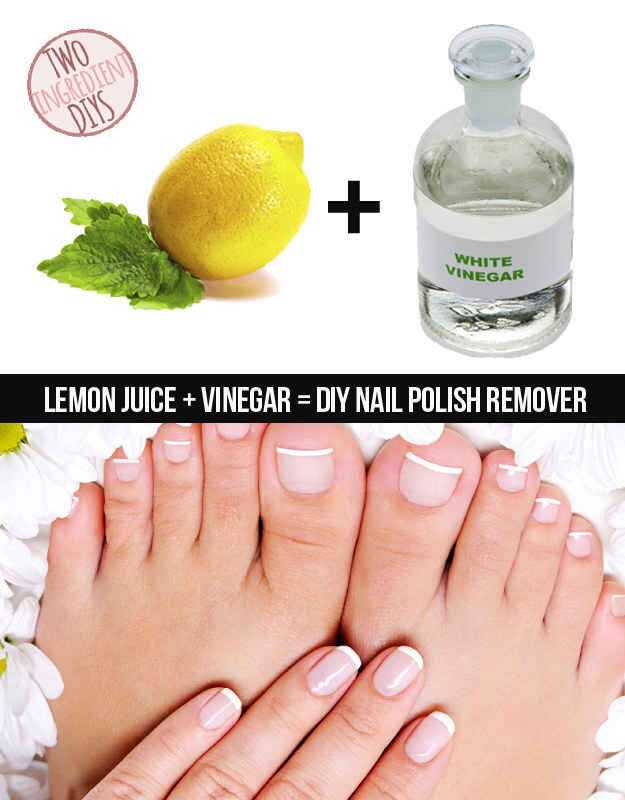 Ran out of nail polish remover? Mix 2 tablespoons of lemon and 2 tablespoon of vinegar in a small bowl and dip it in a cotton ball or nail pads! #problemsolved