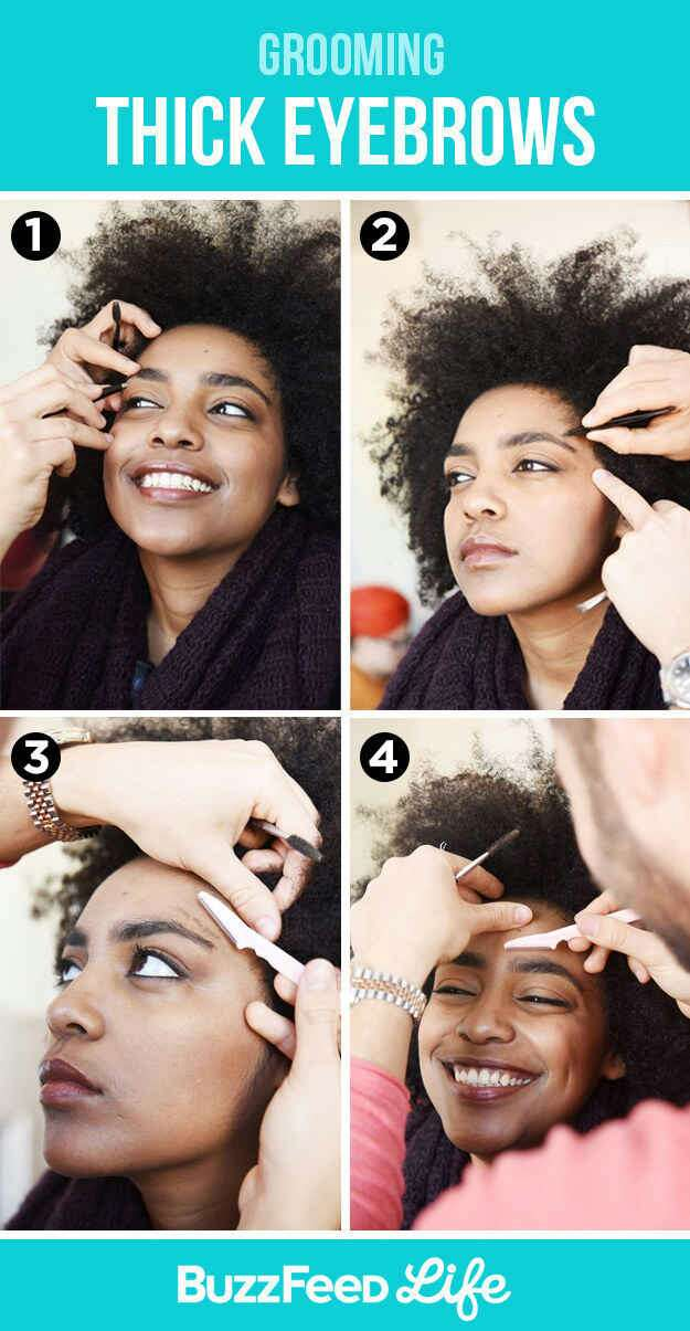 9. Groom stray hairs around thick brows to add definition. Tweeze above and below your natural brow by plucking out hairs. If you need to, use an eyebrow razor from the side of your hairline to just above the top of your eyebrow to remove any thin, excess hair on your temples.