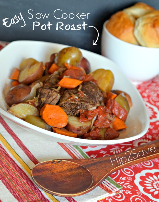 Easy Slow Cooker Pot Roast  (adapted from the back of the Lipton Onion Soup box)  *2-3 pound pot roast *1 packet of onion soup mix *1 can stewed tomatoes *2 carrots peeled and chopped *6 small potatoes chopped ( I like red and yellow potatoes) *1/2 cup water