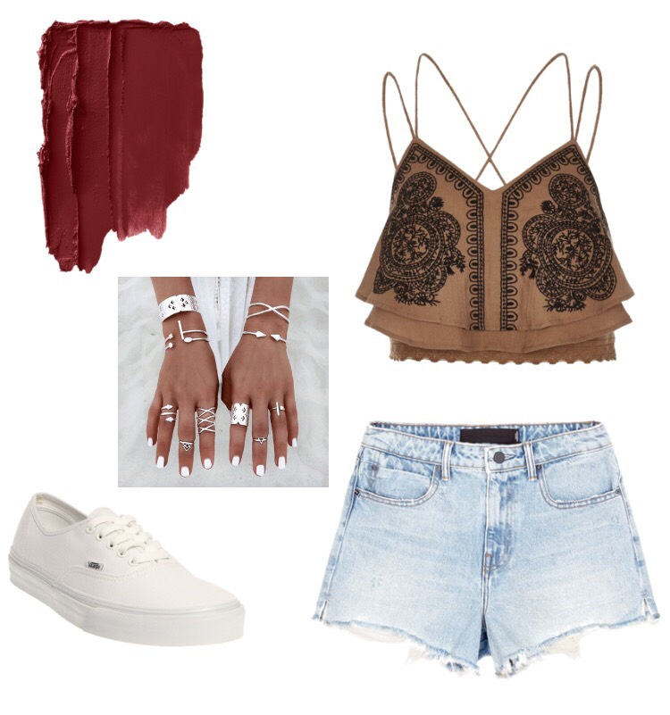 Top: Pacsun Shorts: Hollister Lipstick: Mac Cosmetics in Ruby Woo Jewelry: Forever 21 Shoes: Vans Oulets (These items are not directly at the store buthave very similar items from these in the picture😊)