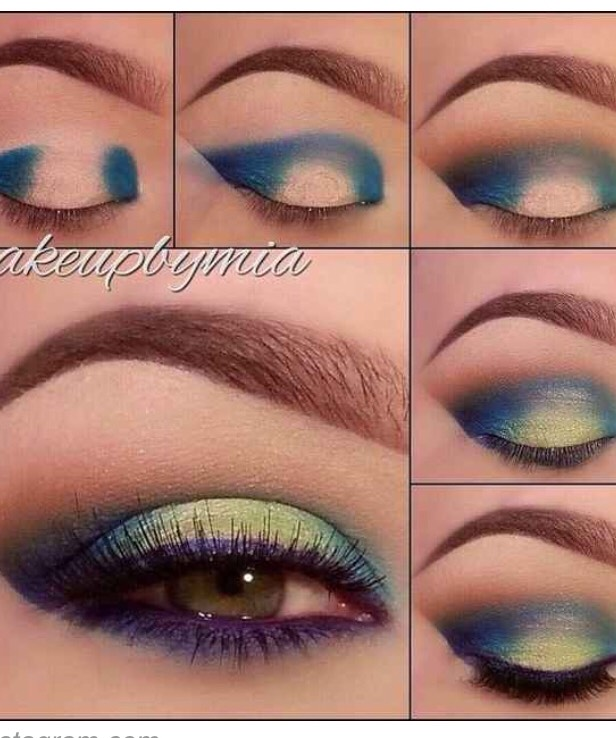 To create a two-toned effect with your eyeliner, add a light, bright color to the center of your eyelid.
