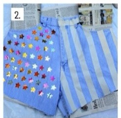 Put your stars on one leg and the tape on vertical or horizontal stripes on the other leg.