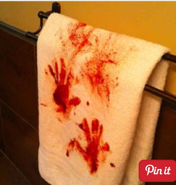 Murder scene bathroom hand/ guest towel!