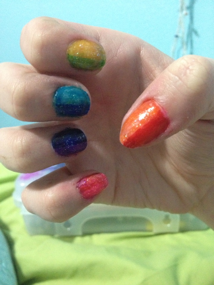 Want to have rainbow nails?? All shiny and sparkly and colorful and vibrant?? Follow these simple steps!
