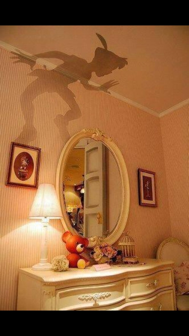 Draw Peter Pan on card and cut out the shape. Make sure it fits through the lampshades hole so you can place it there (on top of the light). Switch on the light and you will hopefully get the shape of Peter Pan's shadow