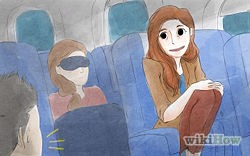 Sleep (or stay awake) like you're already there. If it's daylight at your destination, try to avoid sleeping on the plane.[4] If it's nighttime at your destination when you're on the plane, try to sleep. Use earplugs, eye shades, and turn on the air-conditioning valve!