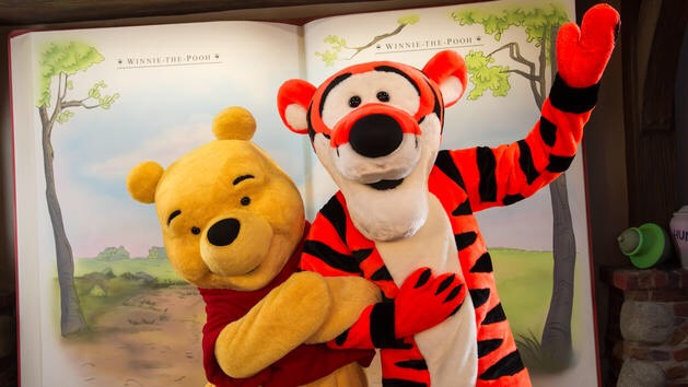 Winnie the Pooh &Tigger Can be found at the Thotful Spot in Fantasyland.