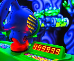 Buzz Lightyear's Space Ranger Spin Fire lasers to defeat Zurg in this shooting-gallery game that puts you in the center of a thrilling space battle.  Height: Any FP+: Yes