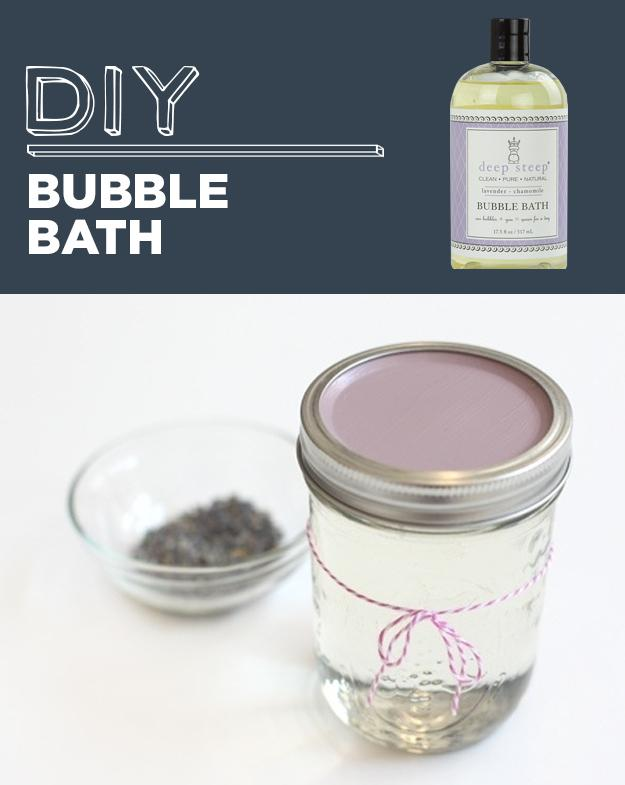 28. DIY Bubble Bath  Mix together 1 cup of clear, unscented dish soap or castile soap, 2/3 cup liquid glycerin, 1/4 cup water, and 2–3 drops essential oil.