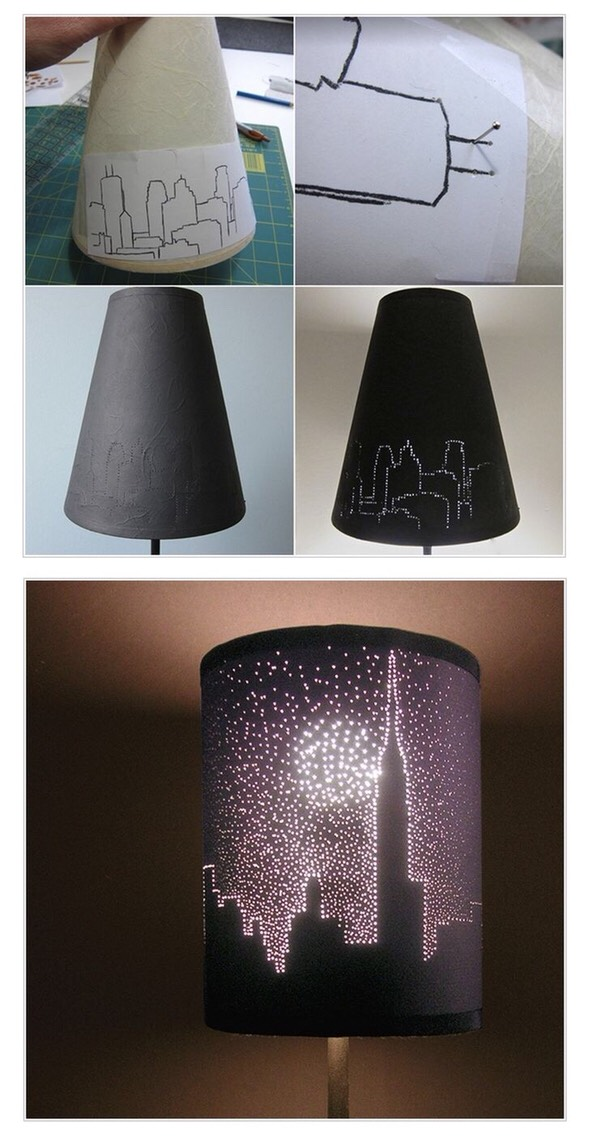 Create a drawing on a piece of paper, stick it on the lamp and make holes through the lines with a pin. Once done you can paint your lampshade to make the pattern more noticeable.