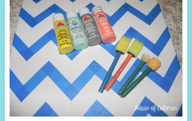 What you need: Paint, sponges or brushes, painters tape, a canvas, and a plate to place your paint.