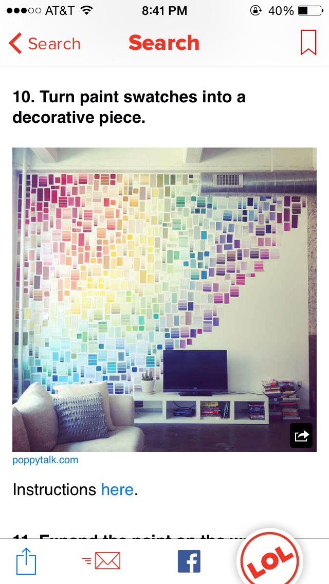 Use your old paint swatches to turn your wall into a colorful collage!