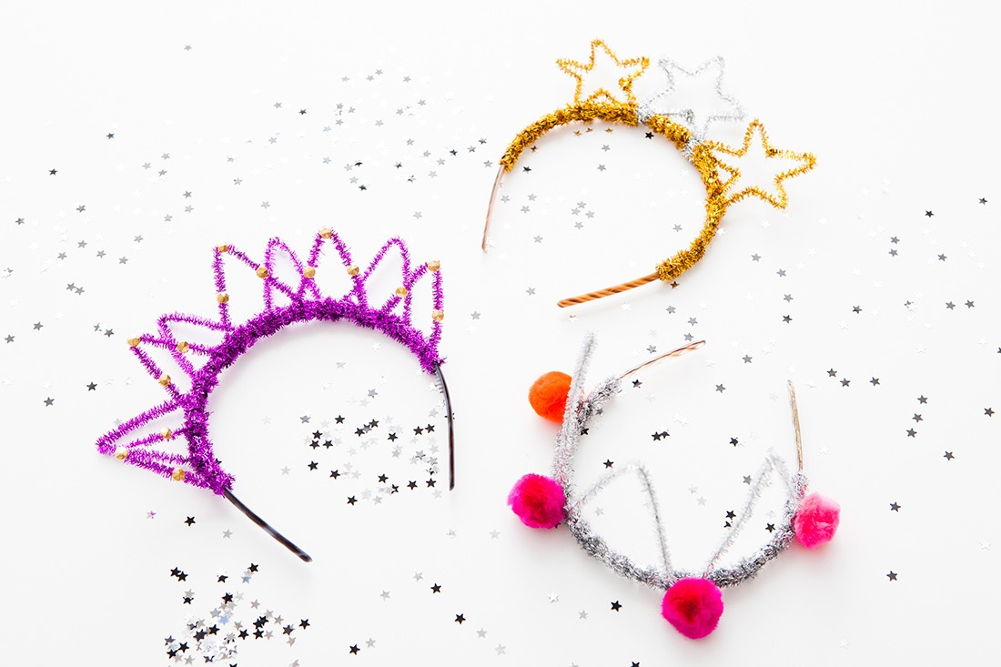 More ideas and directions  http://www.brit.co/diy-nye-headbands-roundup/