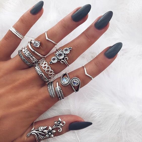 Dark gray almond tip nails