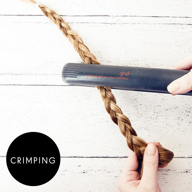 12. Crimp your hair by flat-ironing a braid.