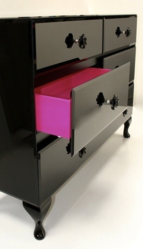 Add a pop of color to the sides of your dressing case drawers