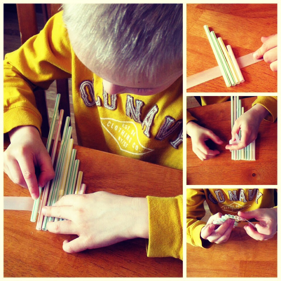 Cut different sizes of straws and tape them together.
