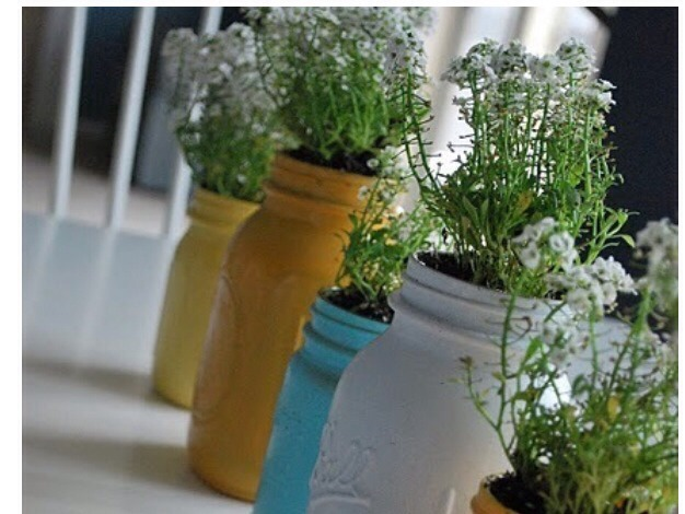 MASON JAR PLANTERS: paint some old mason jars and use them as planters.