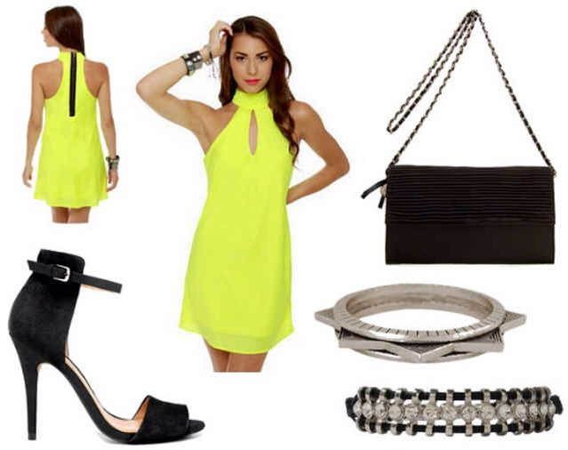 Product Info:  Dress- LuLu's, Shoes- Zara, Bag- Mango, Spiked Bracelet- Forever 21, Rhinestone Bracelet- Forever 21