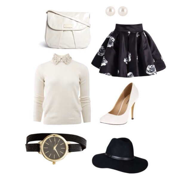 Go for a classic look with black and white; add a floppy hat to block out the sun in the bright autumn afternoon!