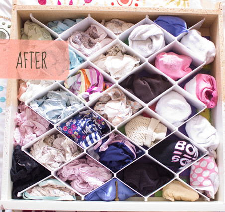 My little drawer was overflowing so badly i could bately close it. i Then used one of the drawer dividers to easily seperate the socks & undies - no more rummaging around to find the pair ur looking for.