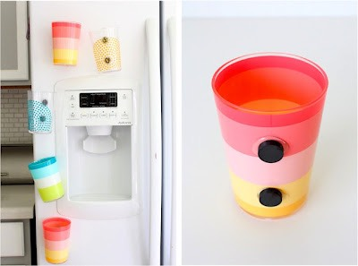 The kids won't need to get a new cup out every time they need a drink when you have Fridge Magnet Cups.