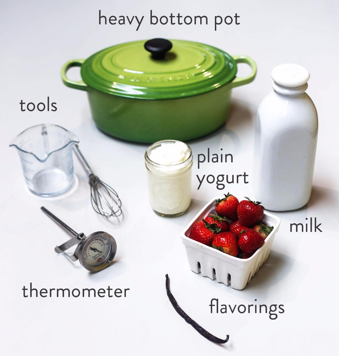 Ingredients needed: 1 cup plain yogurt 5 cups milk 1 handfull of fresh fruit (optional)  Materials needed: Thermometer (optional) wisk microwave  towel