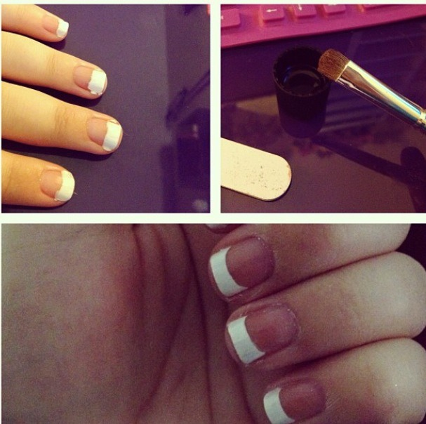 1) Paint the tips white (doesn't need to be perfect) 2) Take an eyeshadow brush with a curve (there's one by elf for $1!) dip it in pure acetone nail polish remover  3) Push upwards and swipe side to side across the nail, creating a perfect arch 4) Let dry and add a shiny top coat You're done ! (: