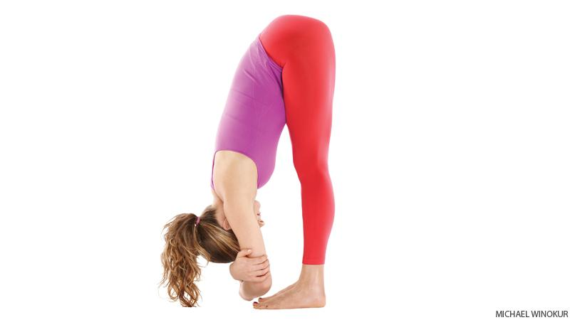 hanging forward: this pose helps with the circulation in your face which helps with looking younger.
